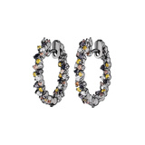 "Extra Small Multicolored Diamond ""Confetti"" Hoop Earrings"