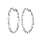"Large 18k White Gold & Diamond ""Confetti"" Hoop Earrings"