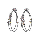 "Multicolored Diamond ""Confetti"" Double Wire Hoop Earrings"