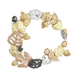 Multicolored 18k Gold & Diamond Leaf Bracelet