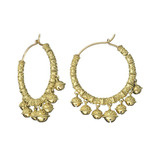 Large Meditation Bell 18k Gold Cluster Hoop Earrings