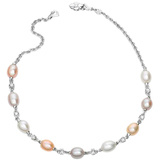 Multicolored Pearl & Diamond Station Necklace