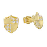 18k Gold & Pavé Diamond Shield Cufflinks