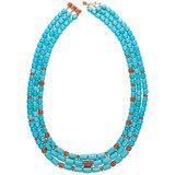 Ruby & Turquoise Barrelet Necklace
