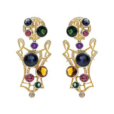"Multicolored Gemstone & Diamond ""Stained Glass"" Drop Earrings"