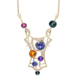 "Multicolored Gemstone & Diamond ""Stained Glass"" Pendant Necklace"