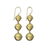 18k Gold Triple Meditation Bell Drop Earrings