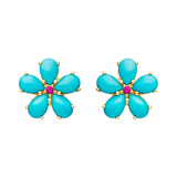Medium Turquoise & Ruby Flower Stud Earrings