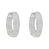 Medium Pavé Diamond Hoop Earrings (~2.60 ct tw)