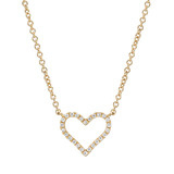 Small 18k Yellow Gold & Diamond Heart Pendant