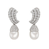 South Sea Pearl & Diamond Drop Earclips