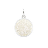 XS Silver St. Christopher Medal with White Enamel