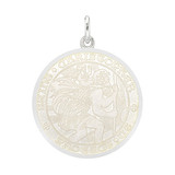 Medium Silver St. Christopher Medal with White Enamel