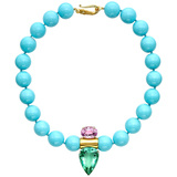 Turquoise Bead Necklace with Kunzite & Fluorite