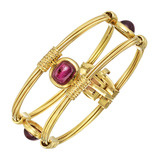 18k Gold & Rhodolite Garnet Bangle Bracelet