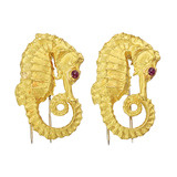 Pair of 22k Gold Seahorse Dress Clips