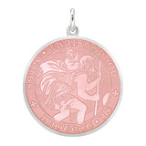 Large Silver St. Christopher Medal with Pink Enamel