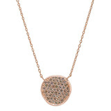 18k Pink Gold & Cognac Diamond Disc Pendant
