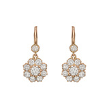 18k Pink Gold & Old Mine Diamond Drop Earrings