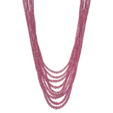9-Strand Pink Sapphire Bead Necklace