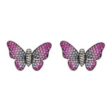 Medium Multicolored Sapphire & Diamond Butterfly Earrings