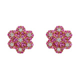 Pink Sapphire & Diamond Foliate Cluster Earrings