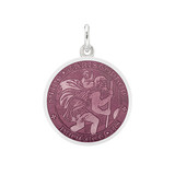 Small Silver St. Christopher Medal with Lavender Enamel