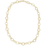 Polished & Twisted 18k Yellow Gold Link Long Necklace