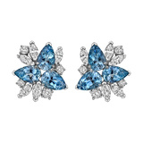 Aquamarine & Diamond Cluster Earrings