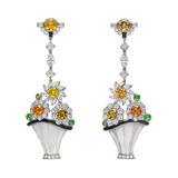 Multicolored Diamond Flower Basket Earrings