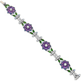 Amethyst & Diamond Flower Bracelet