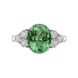 4.09 Carat Mint Tourmaline & Diamond Ring