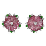 Pink Tourmaline, Diamond & Tsavorite Flower Earrings