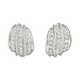 18k White Gold & Diamond Five-Row Earclips
