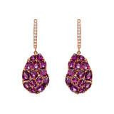 Rhodolite Garnet Petal-Shaped Drop Earrings