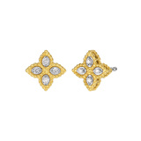 "Small 18k Gold & Diamond ""Princess Flower"" Stud Earrings"