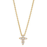 "18k Yellow Gold & Diamond ""Tiny Treasures"" Cross Pendant"