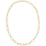 18k Yellow Gold Round & Oval Link Long Necklace