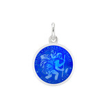 XS Silver St Christopher Medal with Royal Blue Enamel