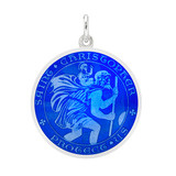 Medium Silver St. Christopher Medal with Royal Blue Enamel