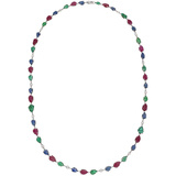 Ruby, Sapphire & Emerald Chain Necklace