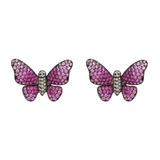 Medium Ruby, Pink Sapphire & Diamond Butterfly Earrings