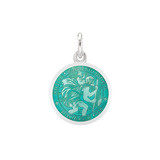 XS Silver St. Christopher Medal with Aqua Enamel