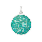 Small Silver St. Christopher Medal with Aqua Enamel