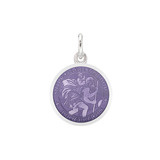 XS Silver St. Christopher Medal with Purple Enamel