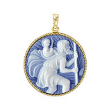 18k Gold St. Christopher Cameo Pendant in Blue Agate