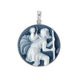 Platinum St. Christopher Cameo Pendant in Black Agate