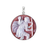 Platinum St. Christopher Cameo Pendant in Red Agate