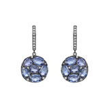 Blue Sapphire Disc-Shaped Short Drop Earrings