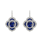 Sapphire & Diamond Foliate Cluster Drop Earrings